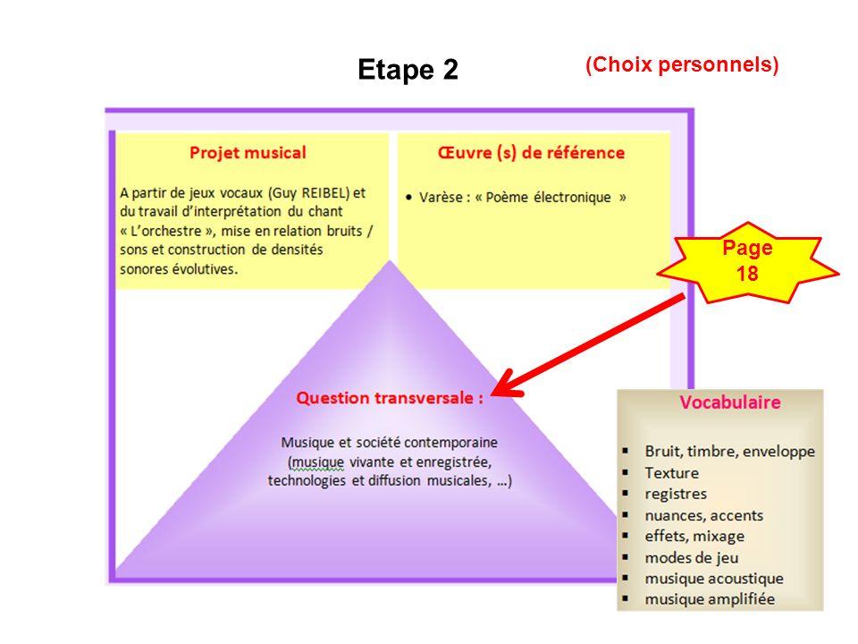 Etape 2 (Choix personnels) Page 18