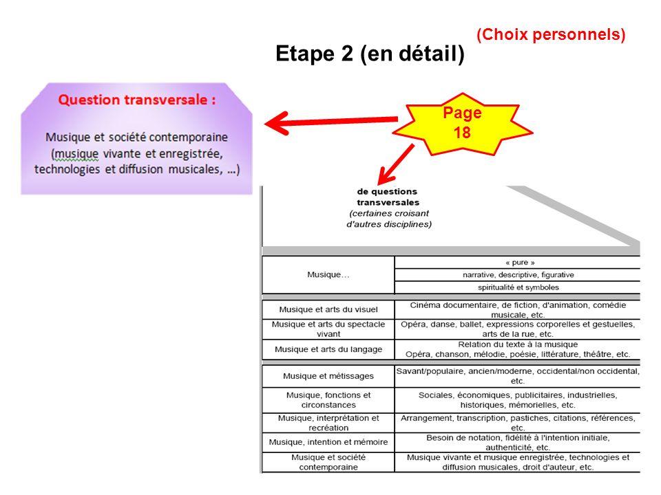 (Choix personnels) Etape 2 (en détail) Page 18