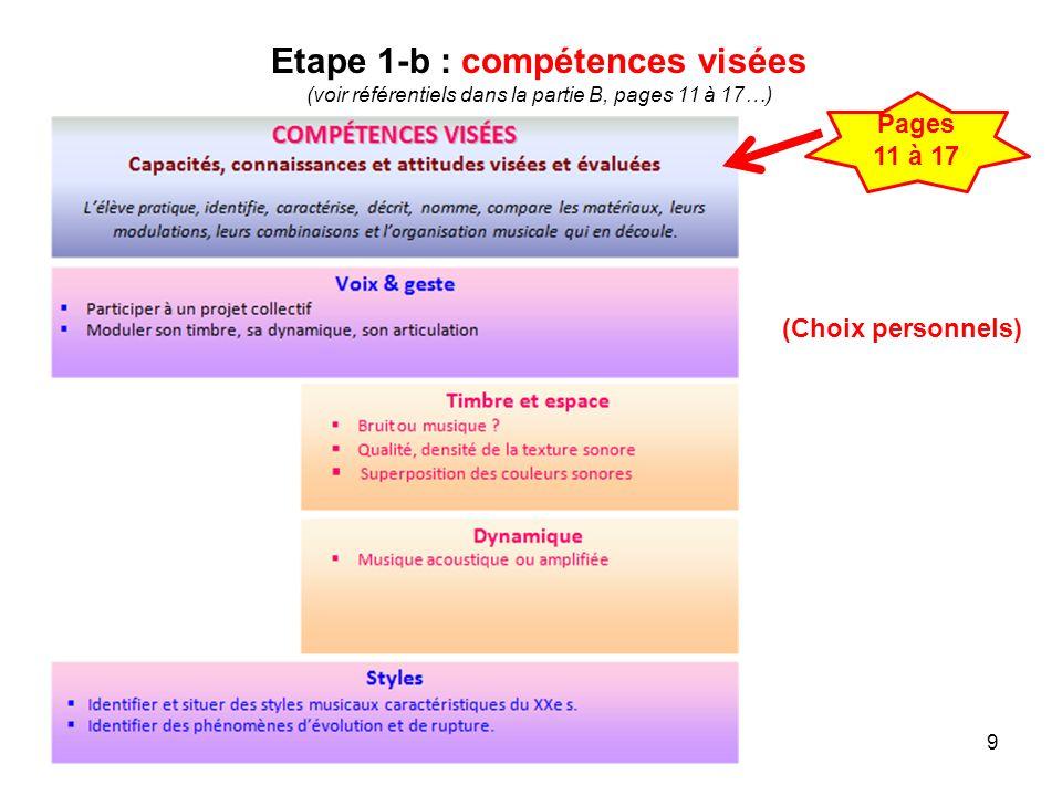 Etape 1-b : compétences visées