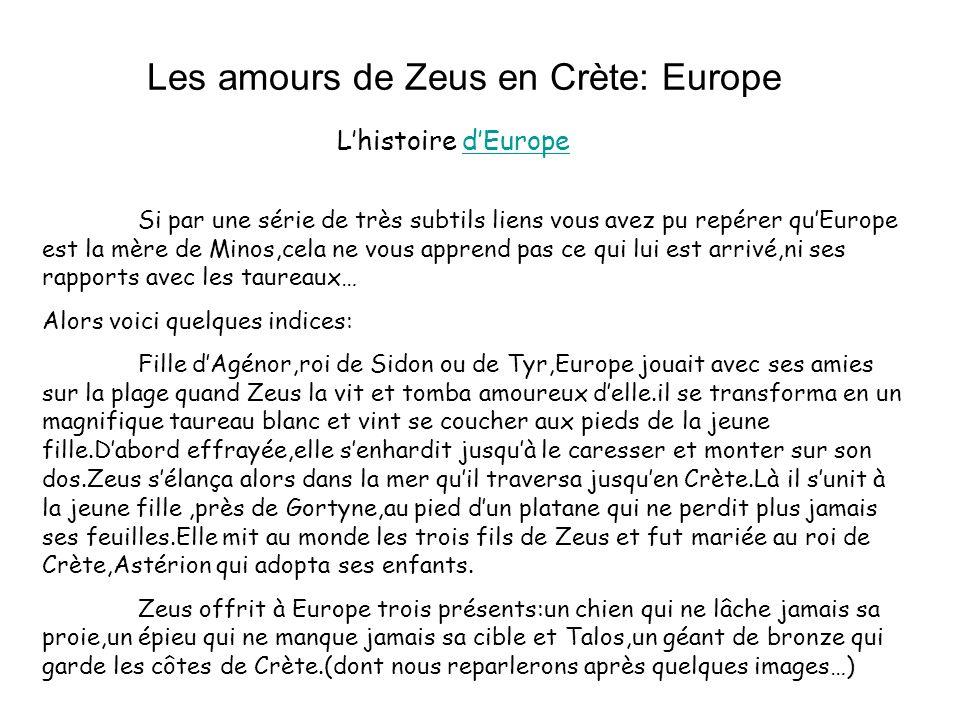 Les amours de Zeus en Crète: Europe