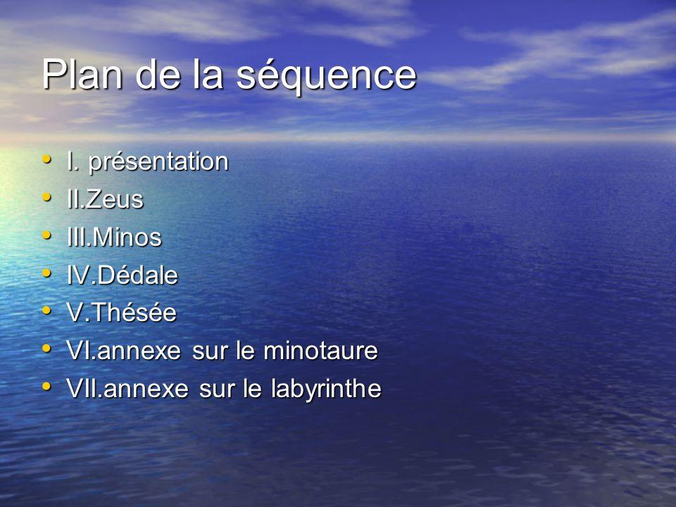 Plan de la séquence I. présentation II.Zeus III.Minos IV.Dédale