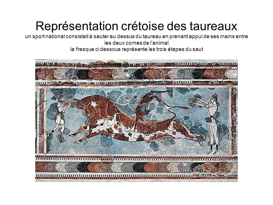 Représentation crétoise des taureaux un sport national consistait à sauter au dessus du taureau en prenant appui de ses mains entre les deux cornes de l'animal la fresque ci dessous représente les trois étapes du saut
