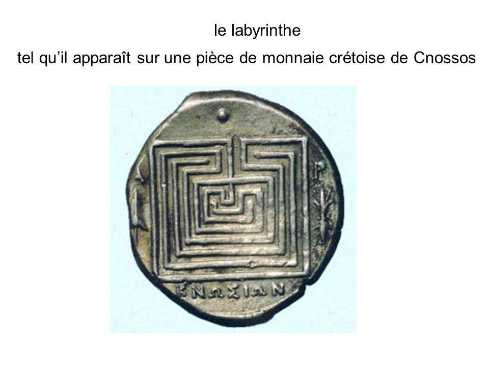 le labyrinthe tel qu'il apparaît sur une pièce de monnaie crétoise de Cnossos
