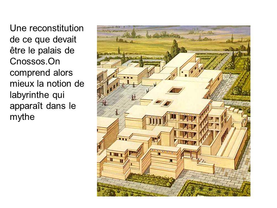 Une reconstitution de ce que devait être le palais de Cnossos.On comprend alors mieux la notion de labyrinthe qui apparaît dans le mythe.