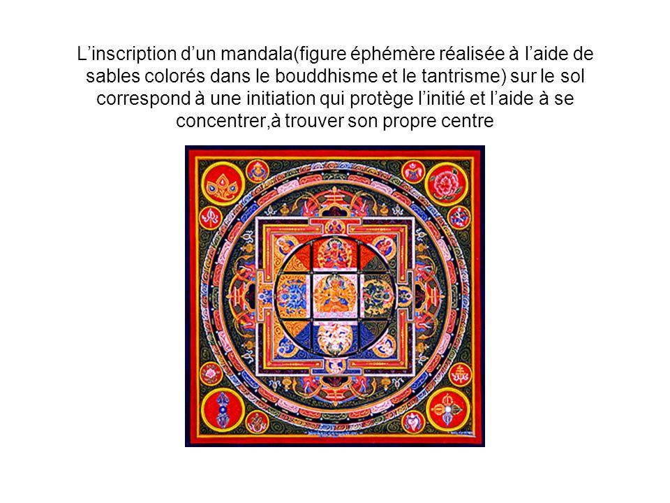 L'inscription d'un mandala(figure éphémère réalisée à l'aide de sables colorés dans le bouddhisme et le tantrisme) sur le sol correspond à une initiation qui protège l'initié et l'aide à se concentrer,à trouver son propre centre
