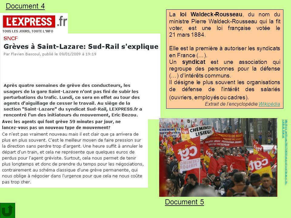 Document 4 La loi Waldeck-Rousseau, du nom du ministre Pierre Waldeck-Rousseau qui la fit voter, est une loi française votée le 21 mars 1884.