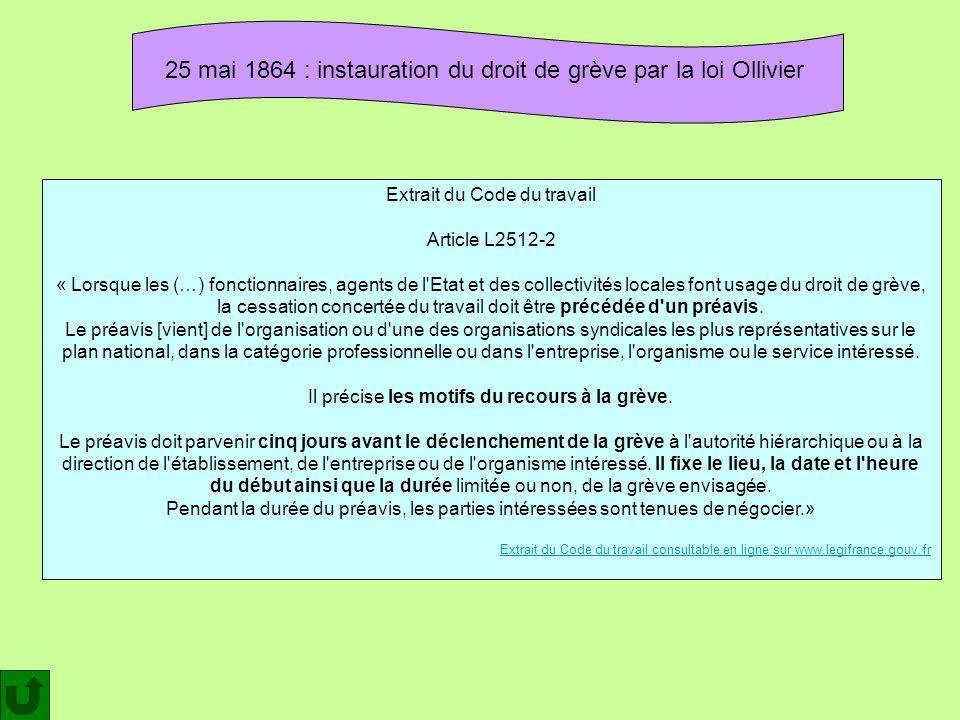 25 mai 1864 : instauration du droit de grève par la loi Ollivier