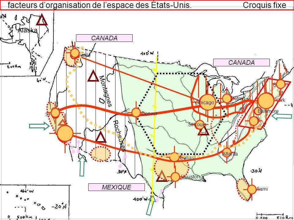 facteurs d'organisation de l'espace des États-Unis. Croquis fixe
