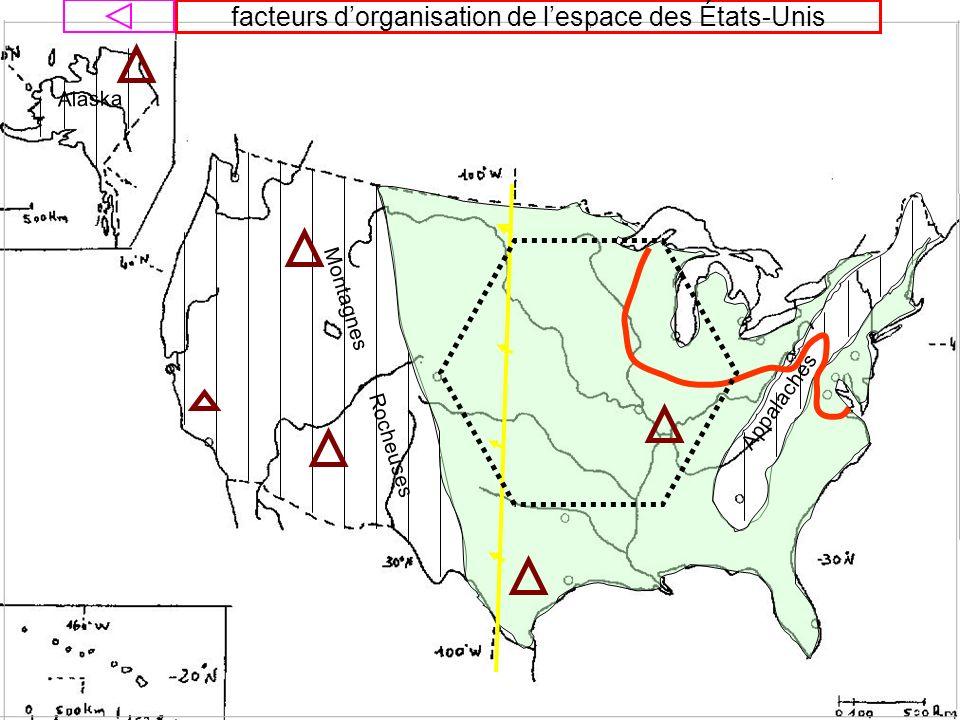 facteurs d'organisation de l'espace des États-Unis