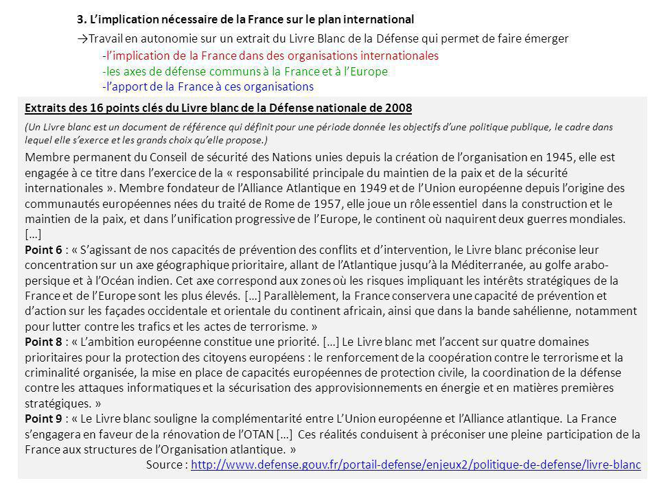 3. L'implication nécessaire de la France sur le plan international