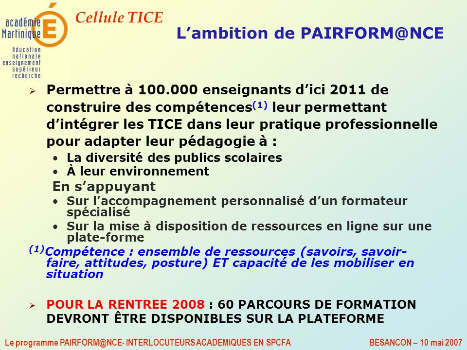 L'ambition de PAIRFORM@NCE
