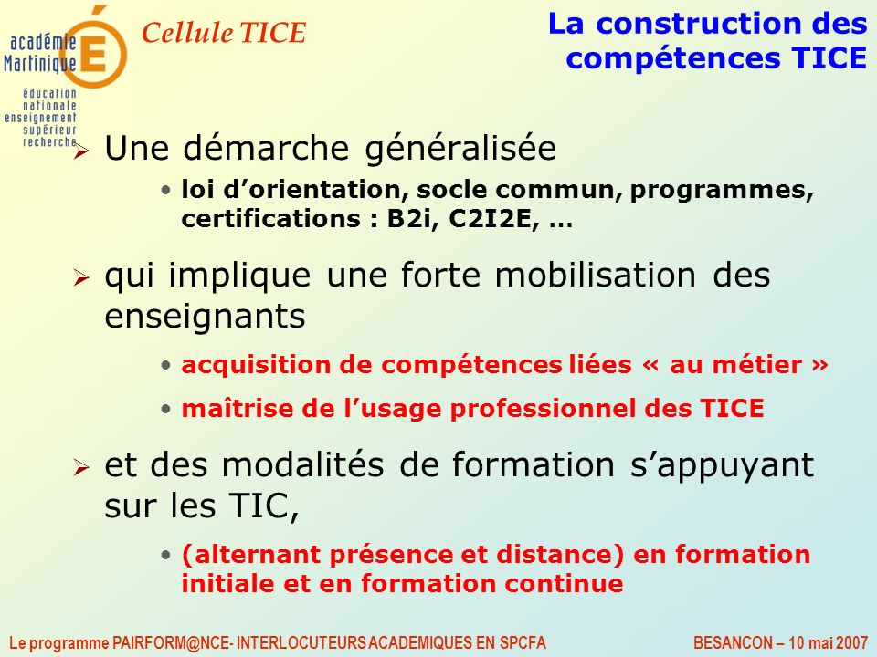 La construction des compétences TICE