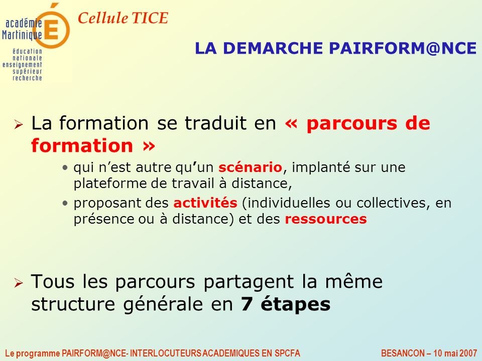 LA DEMARCHE PAIRFORM@NCE