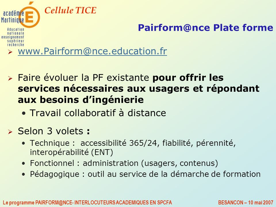 Pairform@nce Plate forme