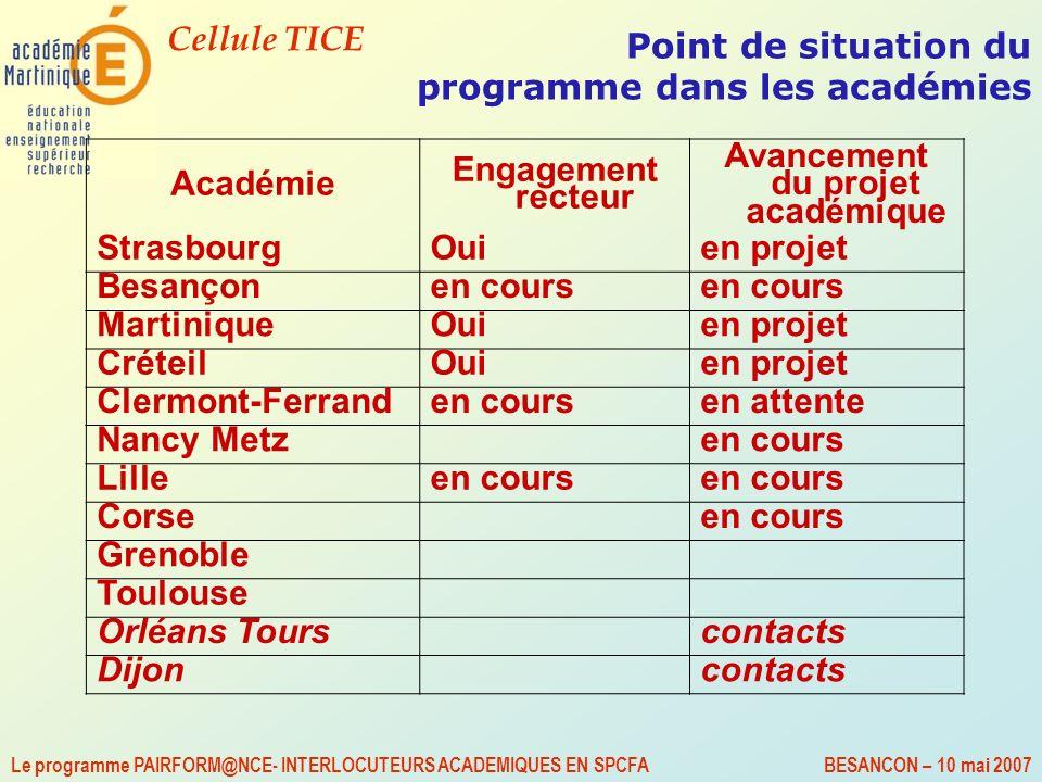 Point de situation du programme dans les académies