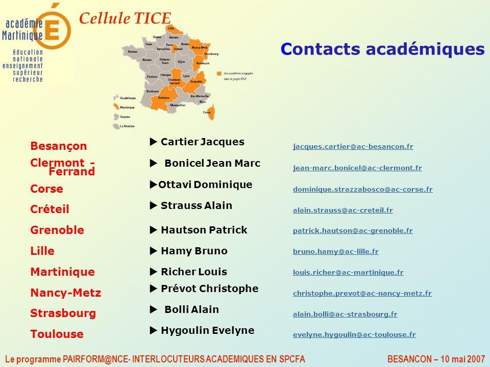 Contacts académiques Besançon Clermont - Ferrand Corse Créteil