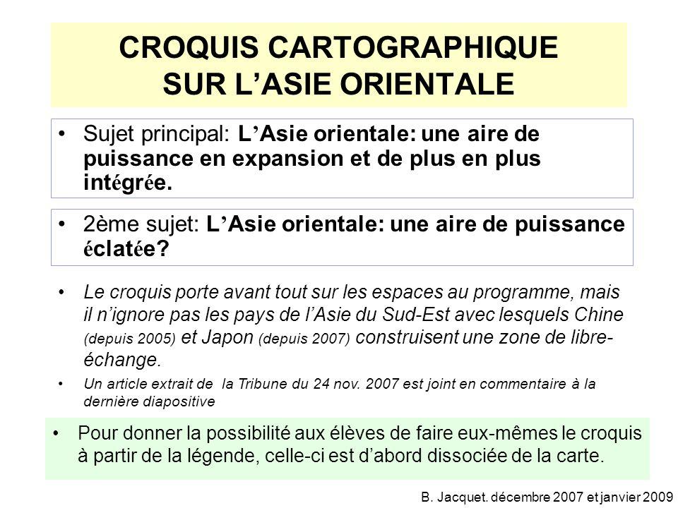 CROQUIS CARTOGRAPHIQUE SUR L'ASIE ORIENTALE