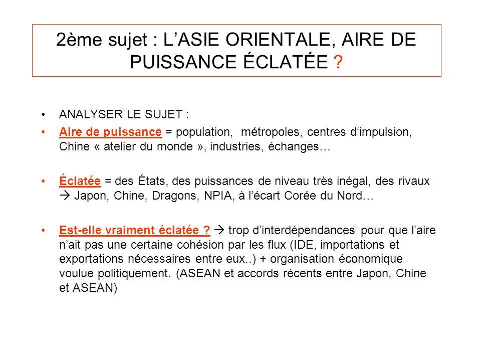 2ème sujet : L'ASIE ORIENTALE, AIRE DE PUISSANCE ÉCLATÉE