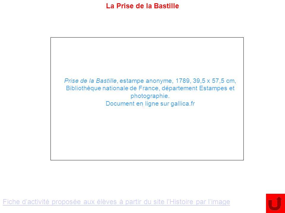 La Prise de la BastillePrise de la Bastille, estampe anonyme, 1789, 39,5 x 57,5 cm,