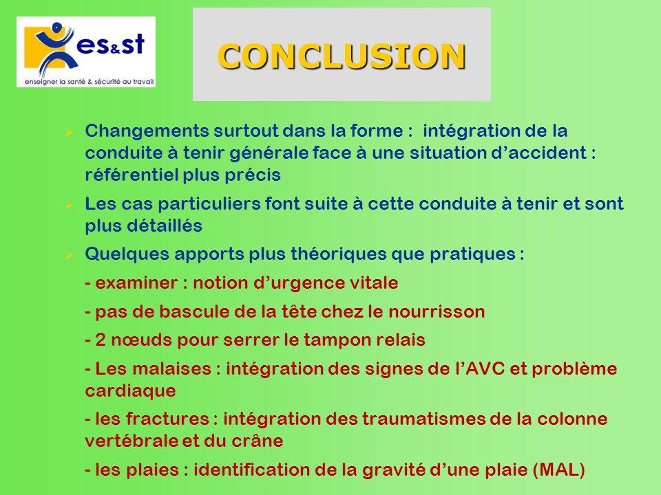 CONCLUSIONChangements surtout dans la forme : intégration de la conduite à tenir générale face à une situation d'accident : référentiel plus précis.