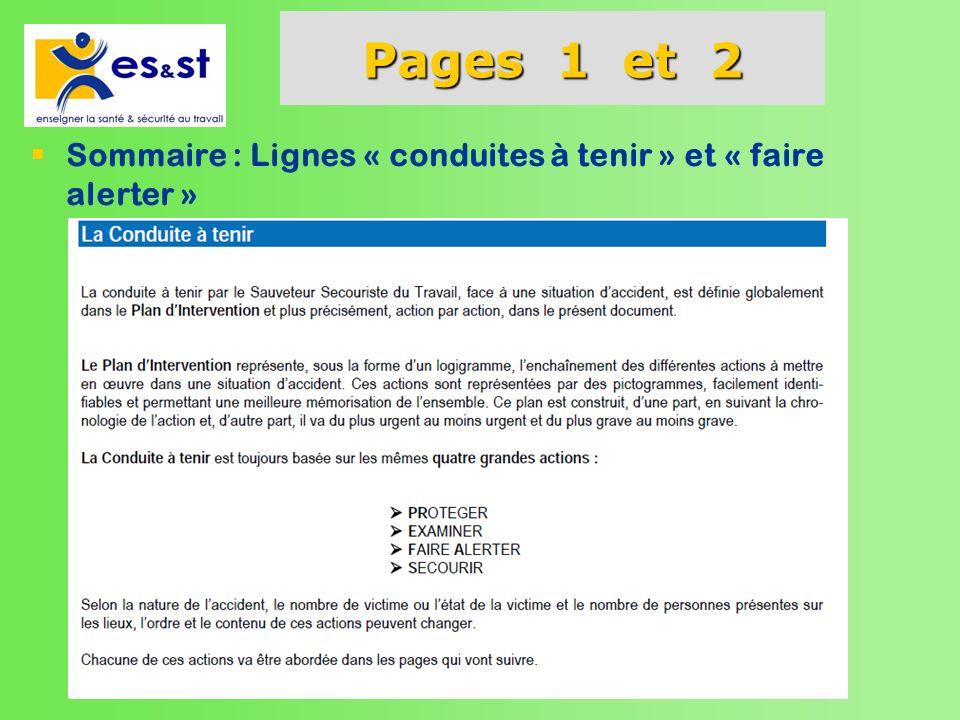 Pages 1 et 2 Sommaire : Lignes « conduites à tenir » et « faire alerter »