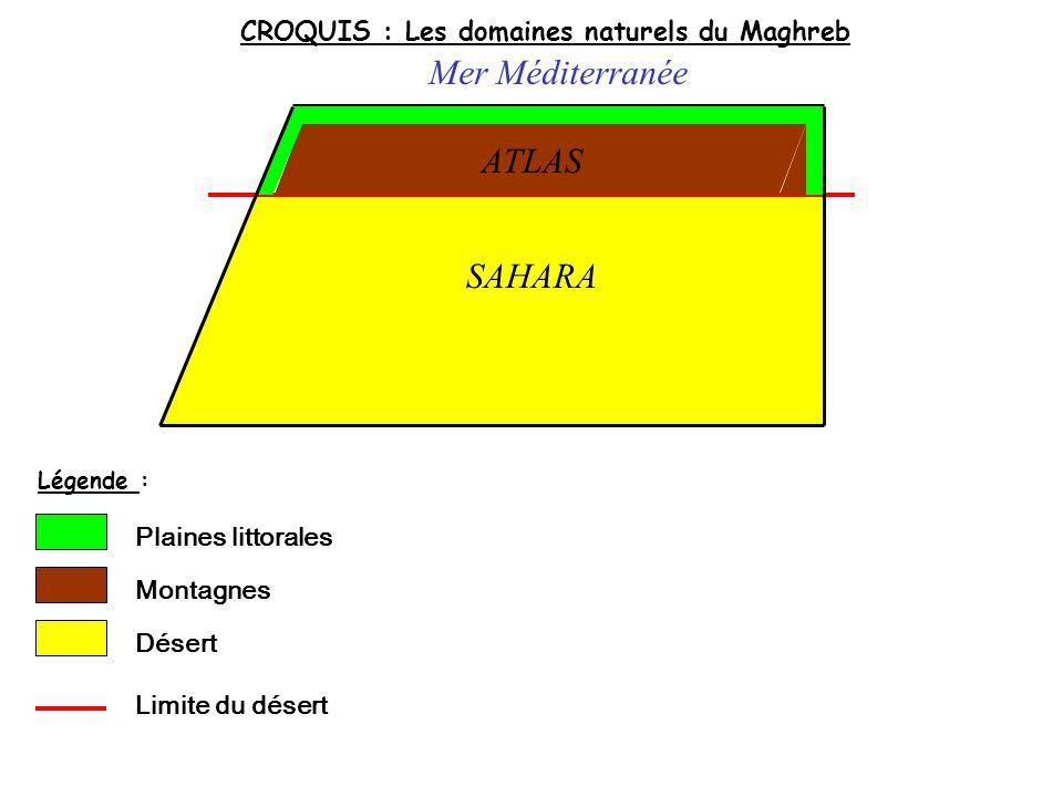 CROQUIS : Les domaines naturels du Maghreb