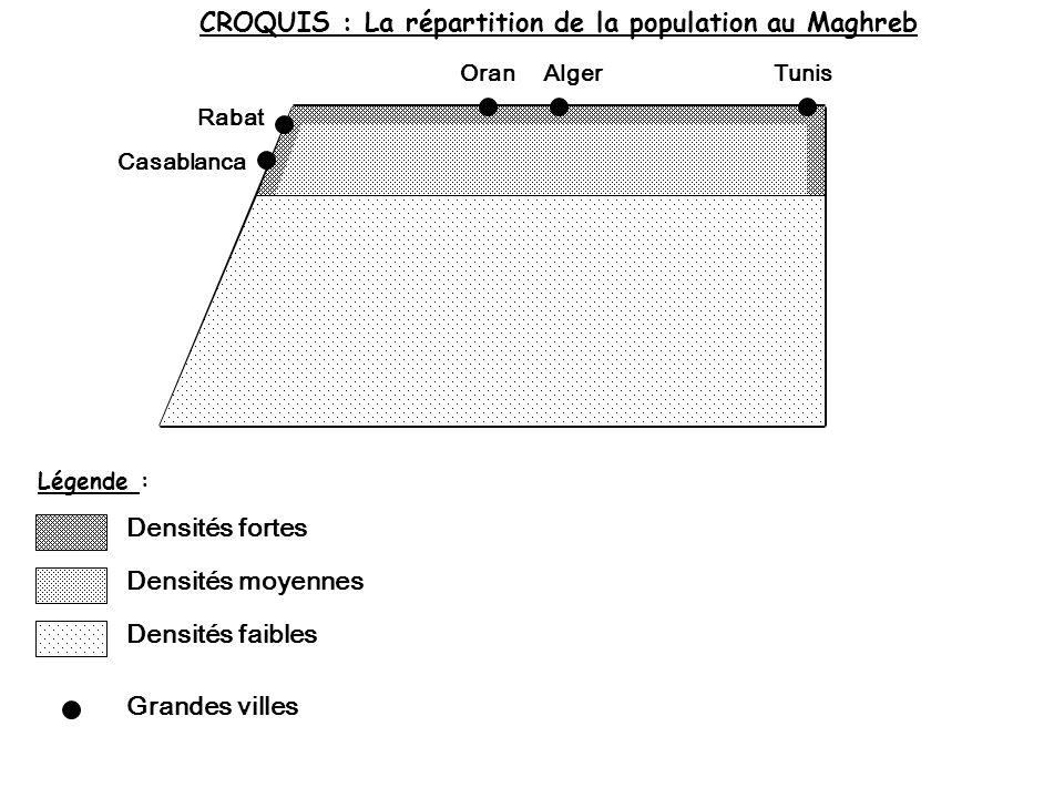 CROQUIS : La répartition de la population au Maghreb