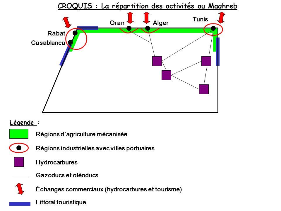 CROQUIS : La répartition des activités au Maghreb