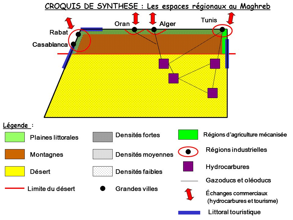 CROQUIS DE SYNTHESE : Les espaces régionaux au Maghreb