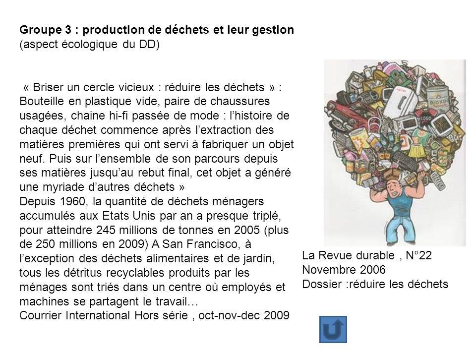 Groupe 3 : production de déchets et leur gestion
