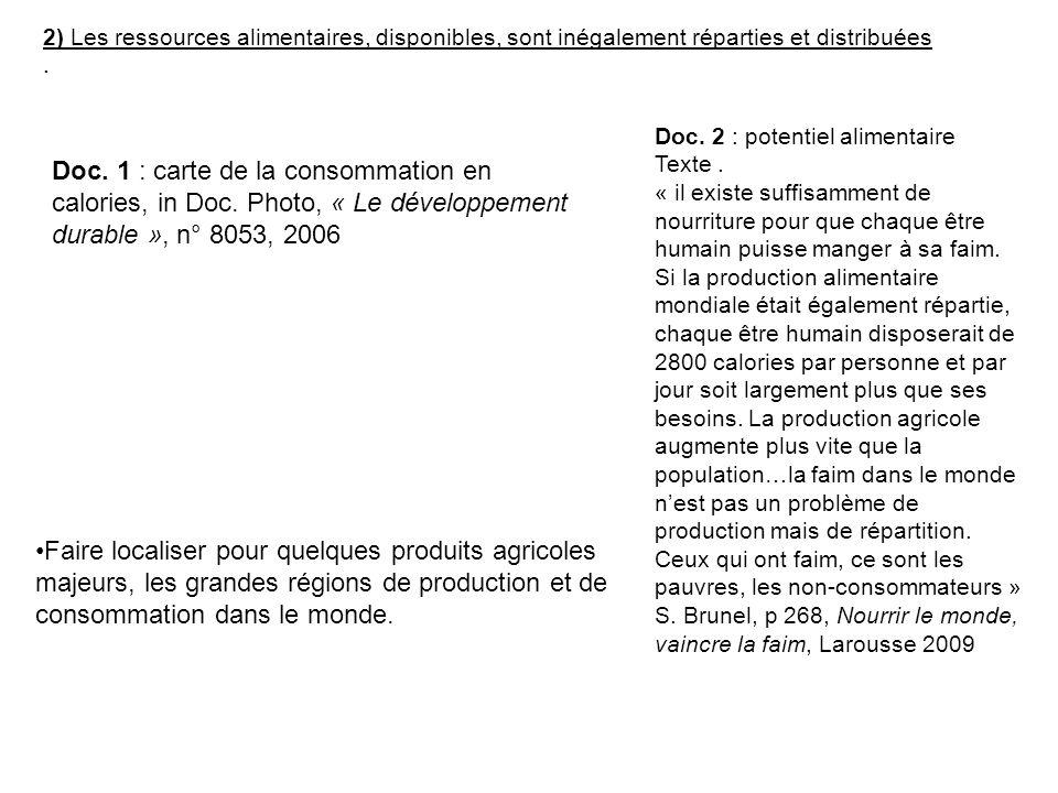 2) Les ressources alimentaires, disponibles, sont inégalement réparties et distribuées