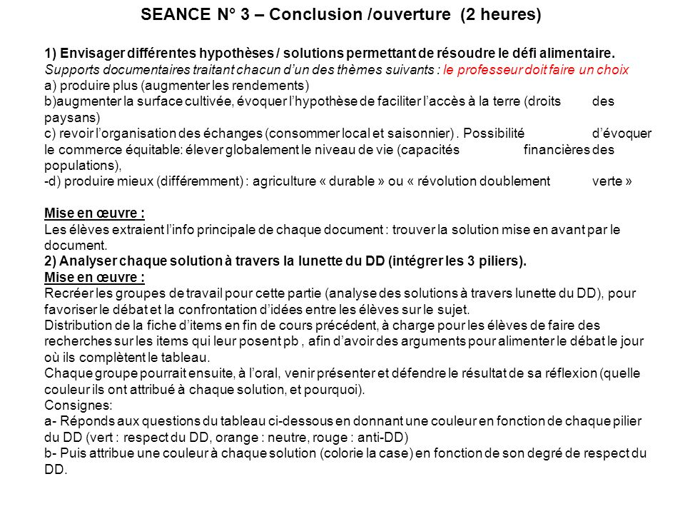 SEANCE N° 3 – Conclusion /ouverture (2 heures)