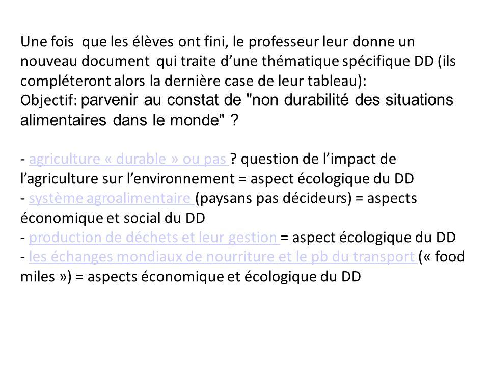 Une fois que les élèves ont fini, le professeur leur donne un nouveau document qui traite d'une thématique spécifique DD (ils compléteront alors la dernière case de leur tableau):