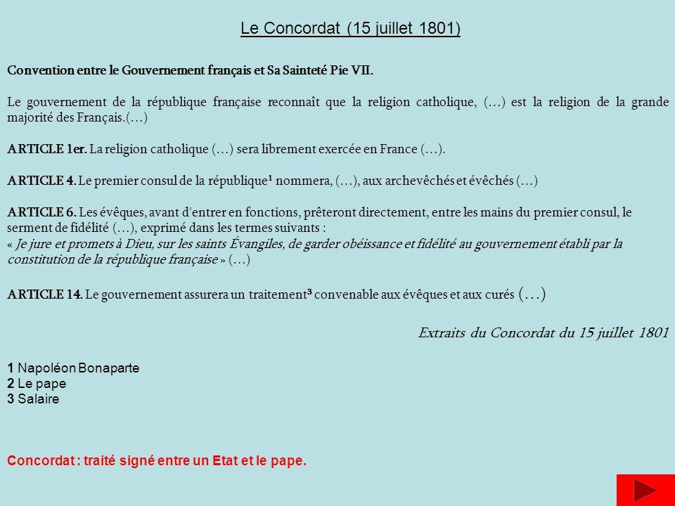 Le Concordat (15 juillet 1801)