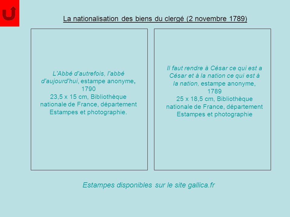 La nationalisation des biens du clergé (2 novembre 1789)