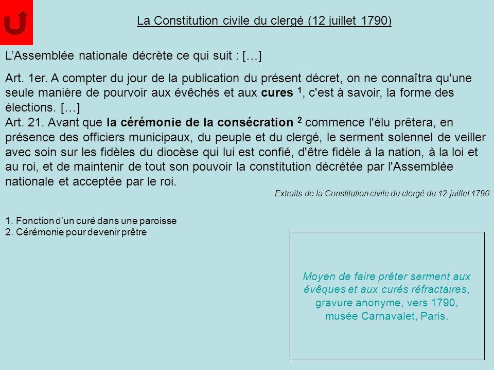 La Constitution civile du clergé (12 juillet 1790)
