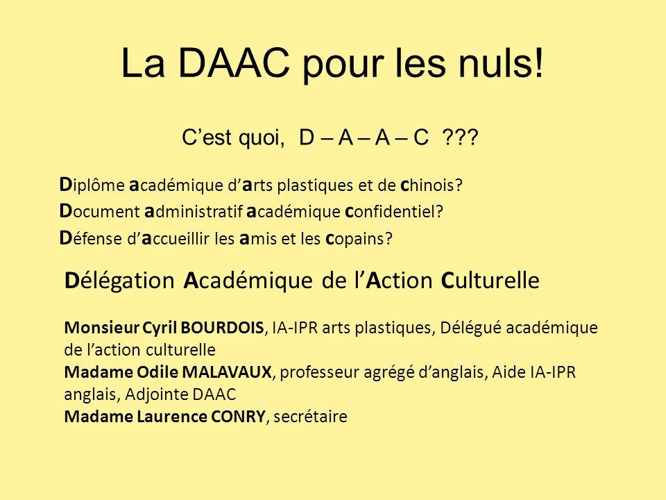 La DAAC pour les nuls! Délégation Académique de l'Action Culturelle