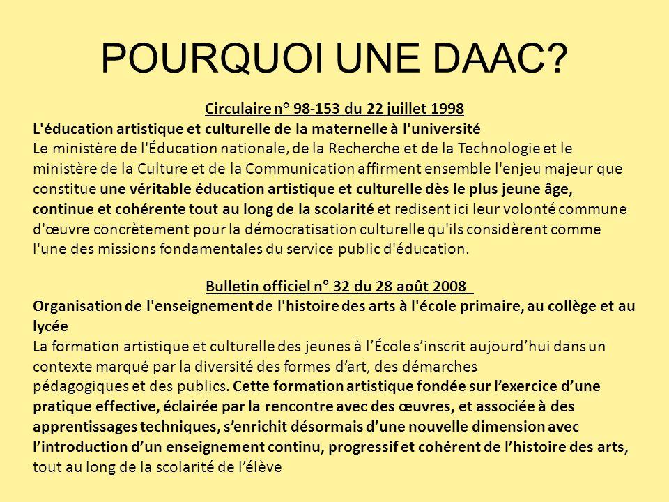 POURQUOI UNE DAAC Circulaire n° 98-153 du 22 juillet 1998