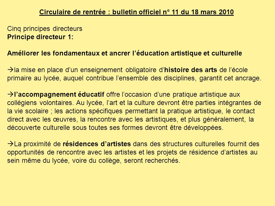 Circulaire de rentrée : bulletin officiel n° 11 du 18 mars 2010