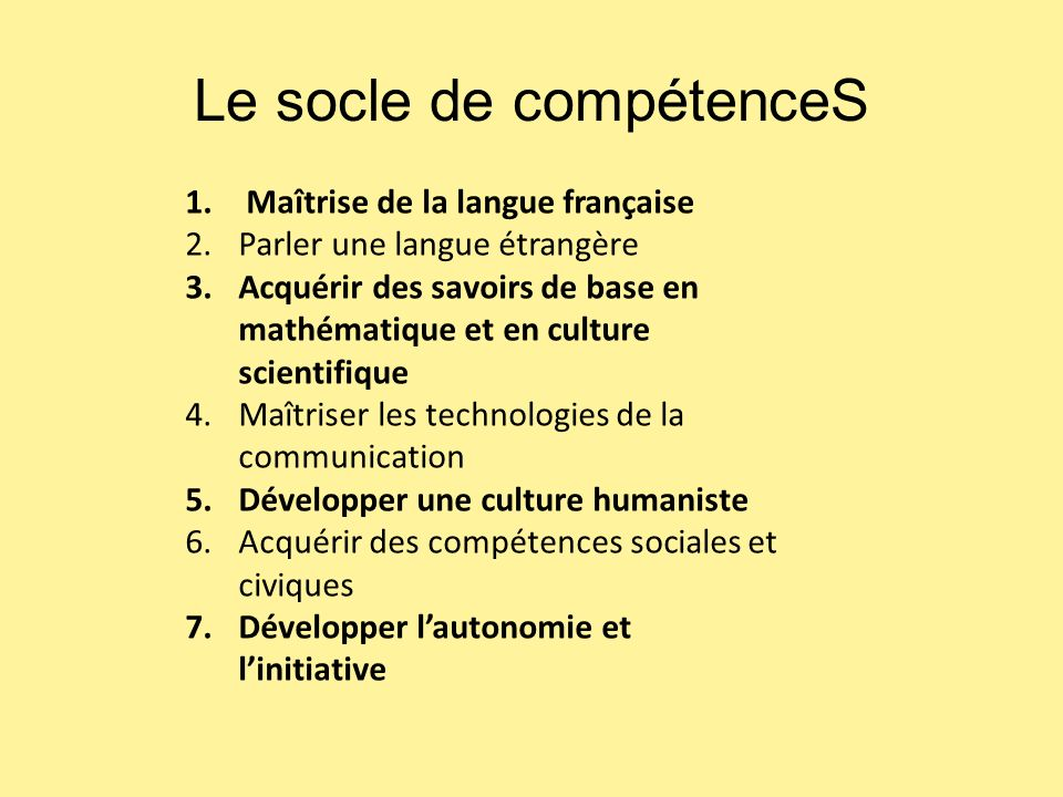Le socle de compétenceS
