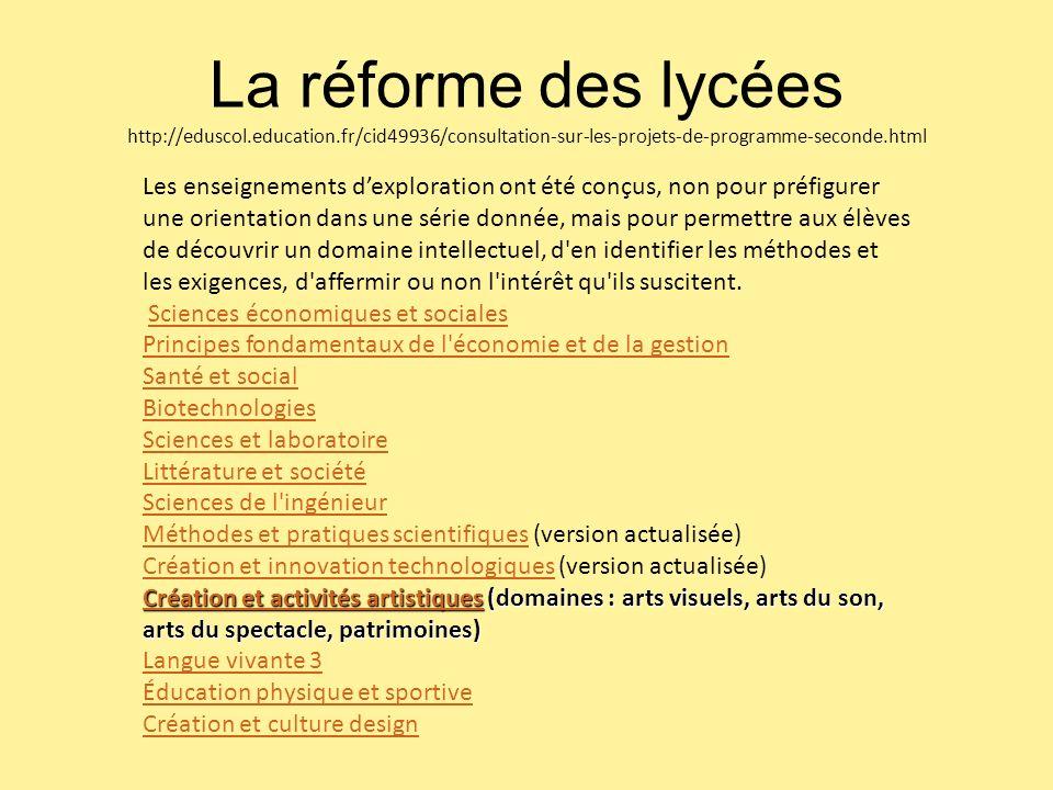 La réforme des lycées http://eduscol. education