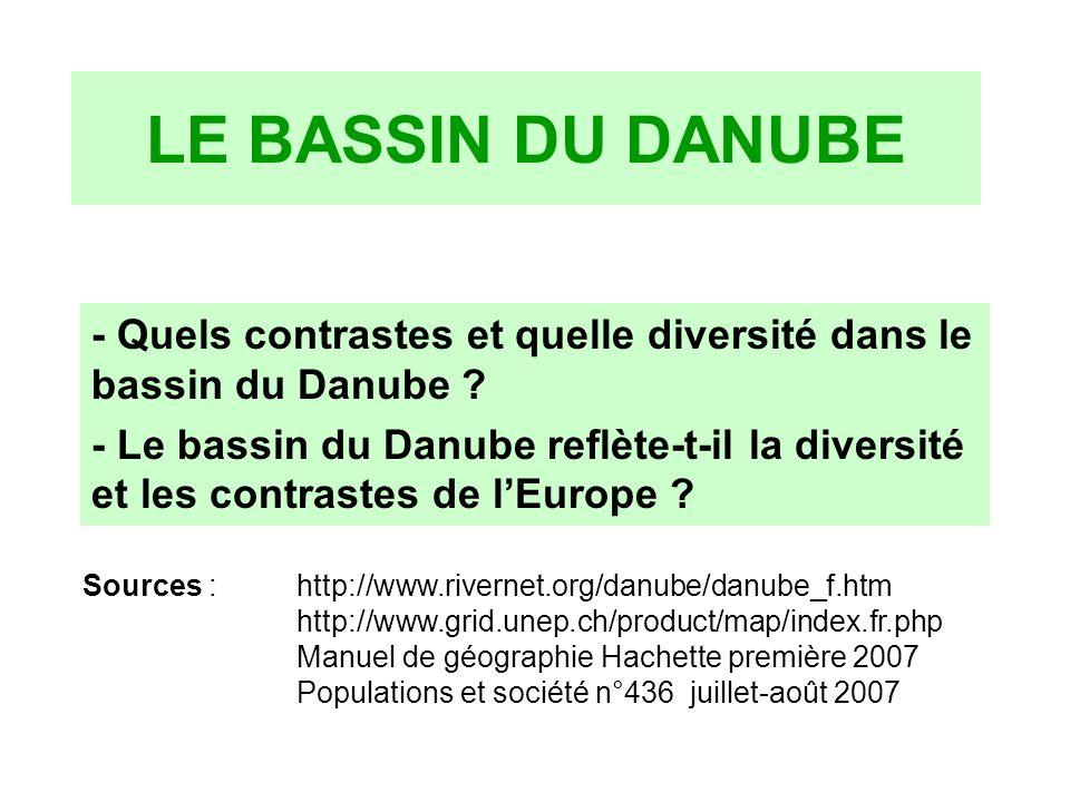 LE BASSIN DU DANUBE - Quels contrastes et quelle diversité dans le bassin du Danube
