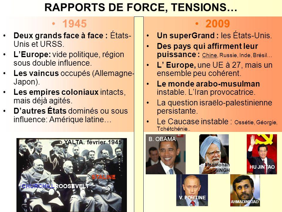 RAPPORTS DE FORCE, TENSIONS…