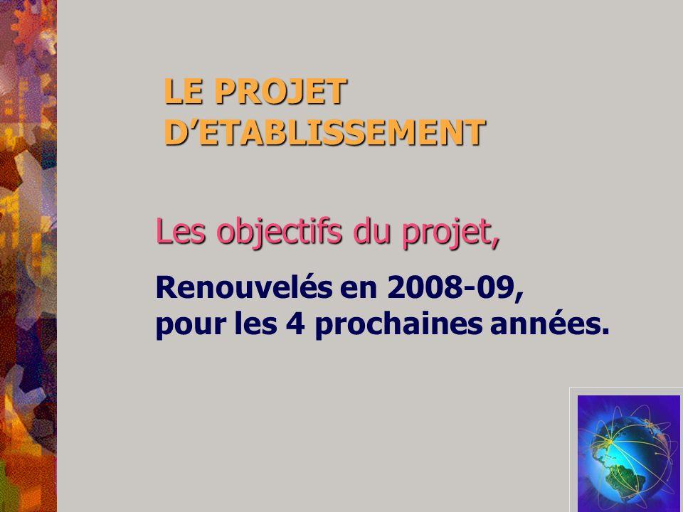 LE PROJET D'ETABLISSEMENT