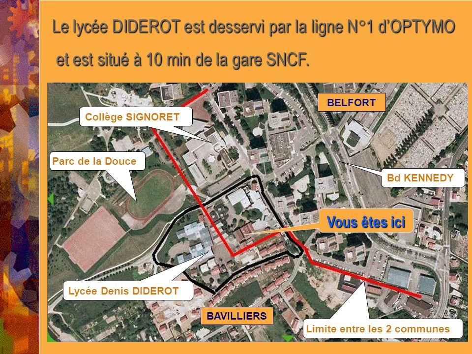Le lycée DIDEROT est desservi par la ligne N°1 d'OPTYMO