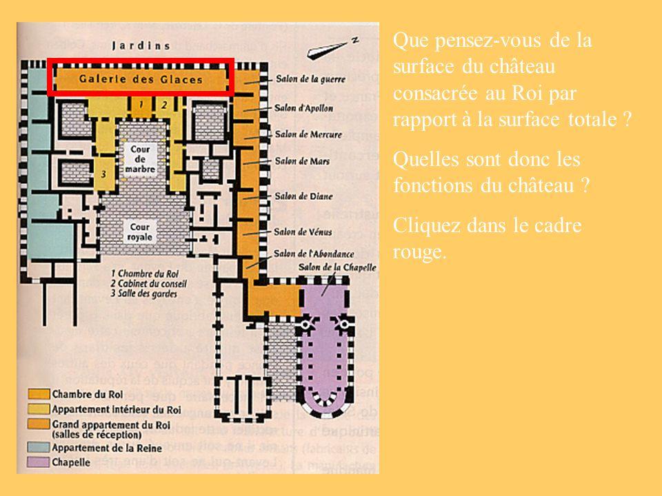 Que pensez-vous de la surface du château consacrée au Roi par rapport à la surface totale
