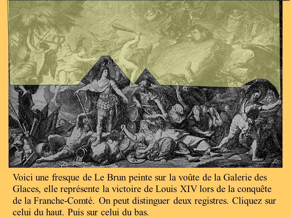 Voici une fresque de Le Brun peinte sur la voûte de la Galerie des Glaces, elle représente la victoire de Louis XIV lors de la conquête de la Franche-Comté.