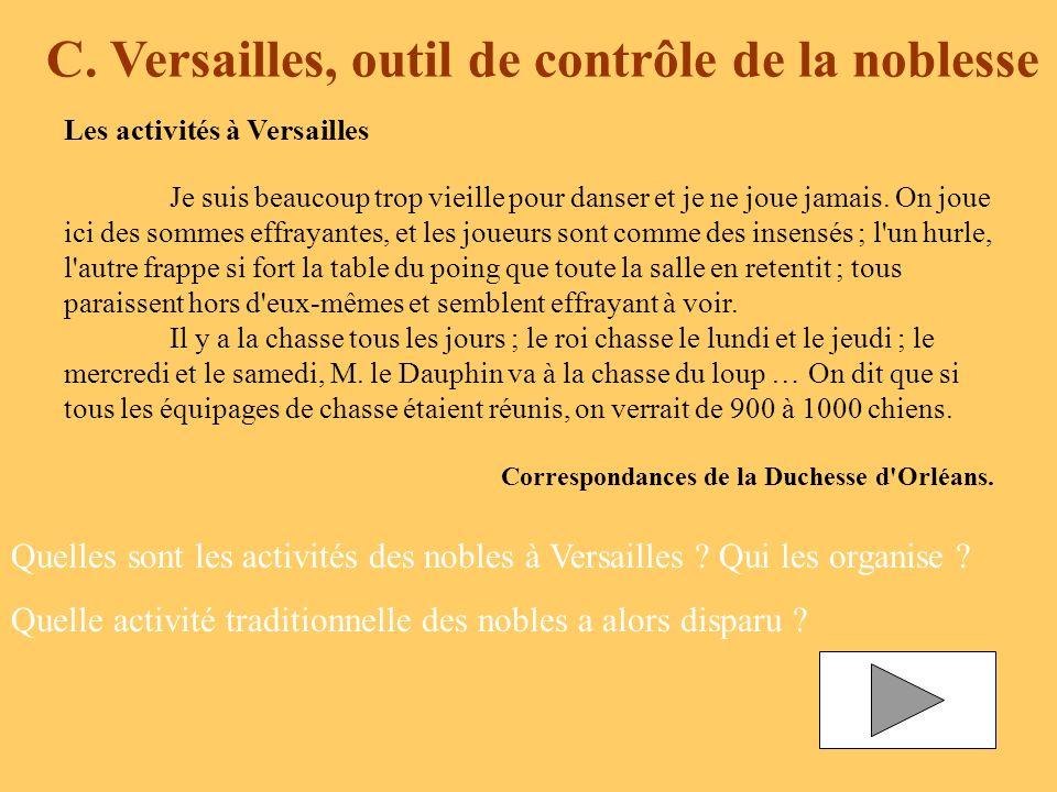 C. Versailles, outil de contrôle de la noblesse