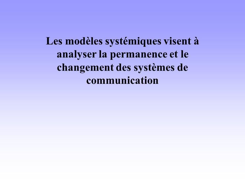 Les modèles systémiques visent à analyser la permanence et le changement des systèmes de communication