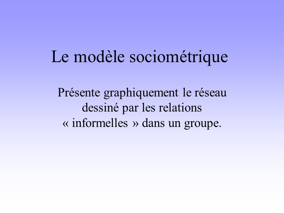 Le modèle sociométrique